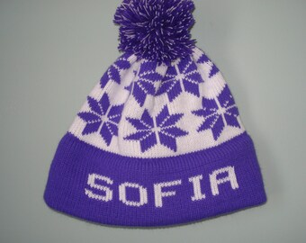 Personalized and machine washable child's knit hat -  Sofia,