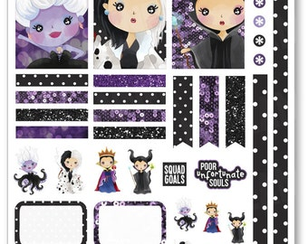 Evil Women Decorating Kit / Weekly Spread Planner Stickers for Erin Condren Planner, Filofax, Plum Paper