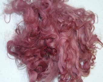 Karakul Wool Locks,  Wool Doll Hair, Blythe Doll Reroots, Curly Doll Hair, Locks for Spinning, Felting, Light Burgundy 1 oz.