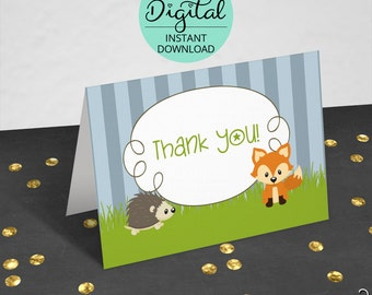 Woodland Thank You Cards, Woodland Animals, Thank You Cards, Woodland Baby Shower, Woodland Birthday, PDF, jpeg, jpg, INSTANT DOWNLOAD #6421