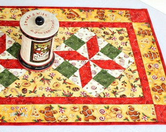 Christmas Quilted Table Runner, Gingerbread People Table Topper, Yellow Red Table Quilt, Quiltsy Handmade