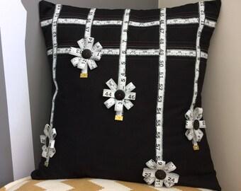 Tape Measure Floral Cushion