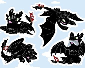 Toothless Stickers. HTTYD Dragon Vinyl Sticker Sheet.