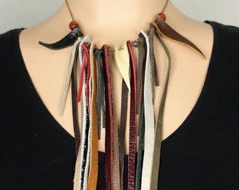 Repurposed leather pull-tie waterfall beaded necklace - adjustable