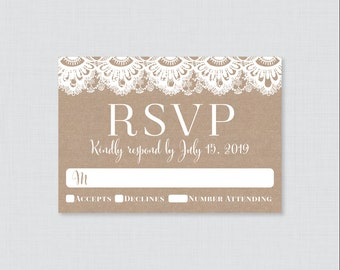 Printable OR Printed Wedding RSVP Cards - Burlap and Lace RSVP Wedding Cards - Rustic Wedding Response Cards, Invitation Reply Cards 0002