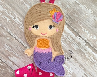 Mermaid Bow Holder Mermaid 2 Clippie Keeper Embroidery File
