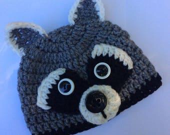 Baby Raccoon Woodland Critter Beanie Style Crochet Hat/Photo Prop