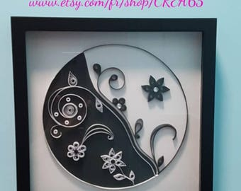 Example table Ying Yang black and white quilling with black frame