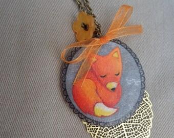 crazy plastic sleeping Fox pendant necklace