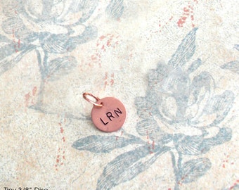 "Tiny Disc. Genuine Copper itty bitty charm. 9mm 3/8"" petite pendant. Customize Initials, Monogram, Number,teeny symbol peace owl crown heart"