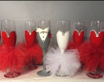 Bridal wine glasses!! Any color available !