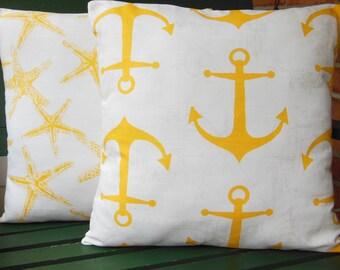 Yellow Nautical Decorative Throw Pillow COVER Coastal Cushion Yellow White Beach Pillow Couch Pillow Bedding Shams Cottage Decor 3 Sizes