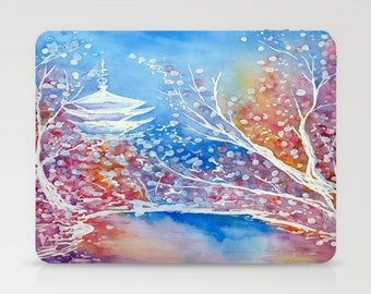 Japanese Temple iPad Hard or Folio Case - Japanese Temple - Cherry Blossom Art - Device Cover