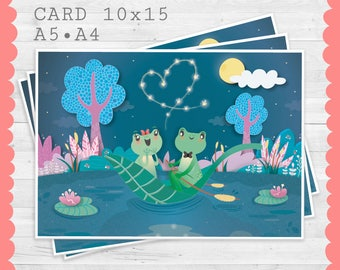 LOVE is in the Air PRINT • Illustration-card (x6) • A5 • A4-Valentine's Day card