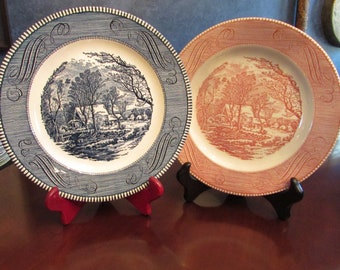 Currier and Ives,  Old Grist Mill, Currier and Ives Set, Set Vintage Plate, Blue and White Plate, Set of 2 Currier and Ives