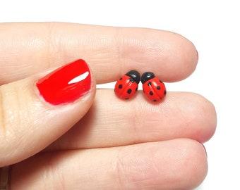 Ladybug Stud Earrings, Polymer Clay Earrings, Polymer Clay Ladybug, Easter gifts, Easter Earrings, Ladybug jewelry, Ladybird, Red Studs