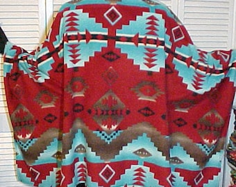 "Poncho Men's/Unisex Fleece "" ENCHANTED TURQUOISE"""