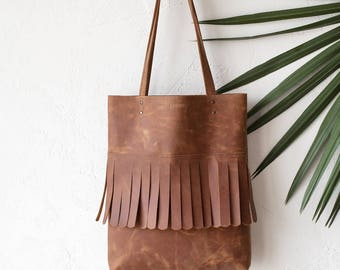 Cognac Distressed Fringe Leather Tote bag No.TF- 9014