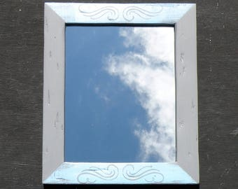 Rustic Powder Blue and Gray Mirror, Distressed Pine Wood Framed Mirror, Hand Painted Scroll Design Farmhouse Mirror, Blue Country Mirror