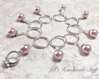 Engagement Ring Stitch Marker Set, Snag Free Pink Knitting Markers, Gift for Knitters