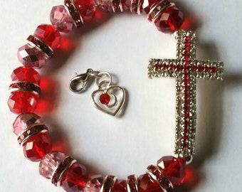 Religious Christian Jewelry Cross Heart Bracelet Religious Jewelry Christian Bling BR21