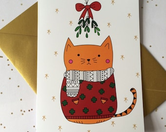 Christmas Jumper Cat Card