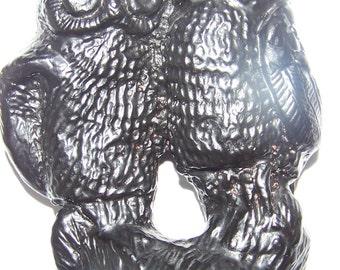 "Vintage Art Decor Handcrafted 5"" Height OWL COUPLE Coal Figurine CANADA owls"