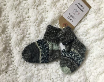 Baby socks, hand knitted, wool.