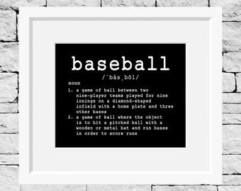 Baseball Definition Print, Baseball Print, Baseball Wall Decor, Baseball Quote Print, Baseball Quote Decor, Baseball Quote Poster, Baseball