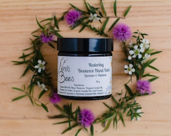 All Natural Restoring Beeswax Hand Balm. Perfect Gift for Her hands with Lavender and Patchouli. Natural Skincare