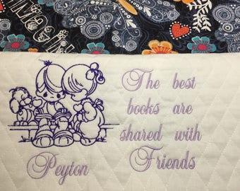 Precious Children with Pet Reading Embroidery Design