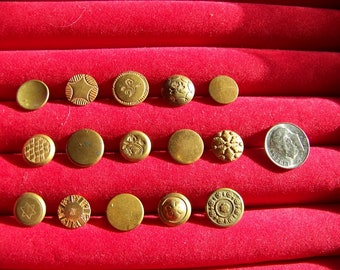 Lot of 15 Antiqe Small Brass One Piece Shank Buttons