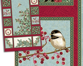 """One Fabric Quilt Panel, """"Chickadees and Berries"""" by Jackie Robinson of Animas Quilts, Benartex, Sewing-Quilting-Craft Supplies"""