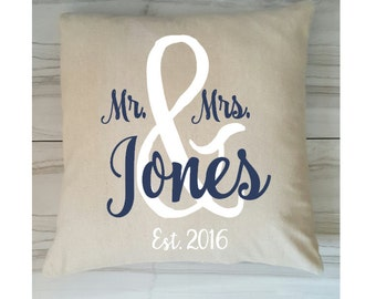 Mr. and Mrs. Pillow Cover with Established Date, Monogram Pillow Cover, Pillow Cover with Monogram,  18 x 18 inches