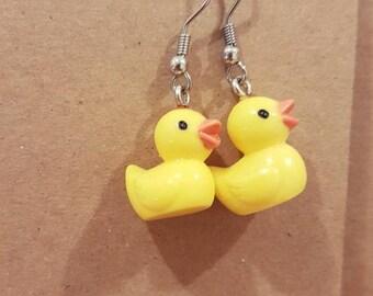 Rubber duck earrings (nickle free)