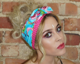 Tropical Flamingo Festival Vintage Rockabilly Pin up Wired Reverisble Headband Headwrap