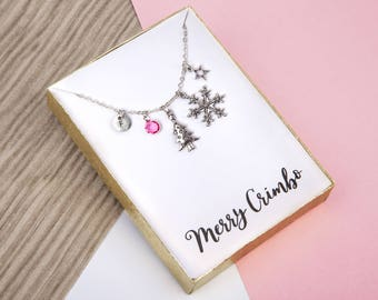 christmas necklace, christmas jewelry, , holiday necklace, christmas tree necklace, , gift for her, personalized, mothers day gift