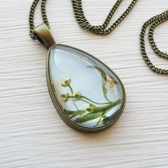 Mother's Day Gift - Real Pressed Flower Necklace - Baby Blue and Real Alyssum Botanical Teardrop Necklace