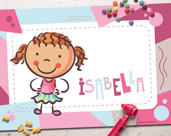 Personalized Placemats for Kids - Girls - Alphabet - Printing - Fun - Cute
