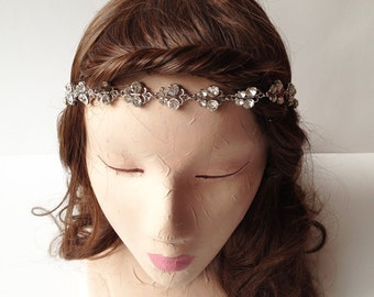 Butterfly Motif Gypsy Stretchband Clear Rhinestone Headband