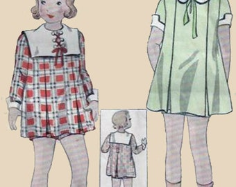 Vintage 1930s Girls Dress and Panties Sewing  Pattern Simplicity 1360 30s Pattern Size 8