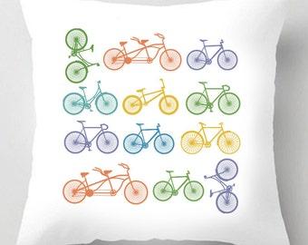 Bicycle illustration decorative tour de france yorkshire quote cushion / pillow
