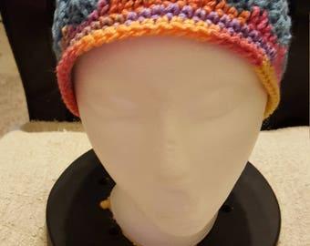 Blue double crochet front post hat