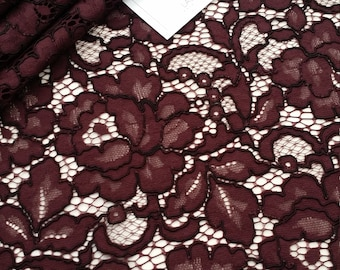 Burgundy lace fabric, France Lace, Embroidery lace, red lace, Wedding Lace, Evening dress lace, Lingerie Lace, Alencon Lace LL73121
