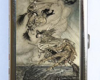 Arthur Rackham Witches Cigarette Case Wallet Business Card Holder fairytale