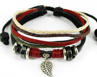 New Leaf Black Leather Adjustable Bracelet