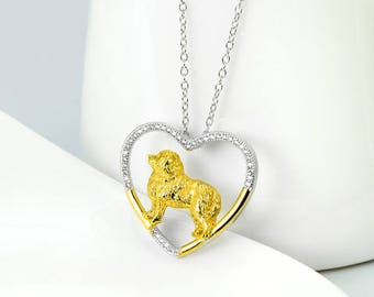 Great Pyrenees Sterling Silver Open Heart Necklace