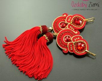 Long Red gold tassel earrings, red soutache earrings, red gold dangle earrings, long red boho unique earrings, red fringe, long red tassel