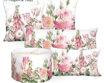Pink Garden Party Square or Rectangular Lumbar Pillow Cover - Pillow 12x18 12x20 14x20 14x26 14x36 16x24 16x26 16x 18x 20x 22x 24x 26x 28x