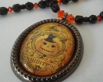 Black cat and pumpkin Halloween necklace with Swarovski crystal